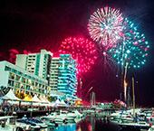 Fogo-de-artifício de ano novo no Sado
