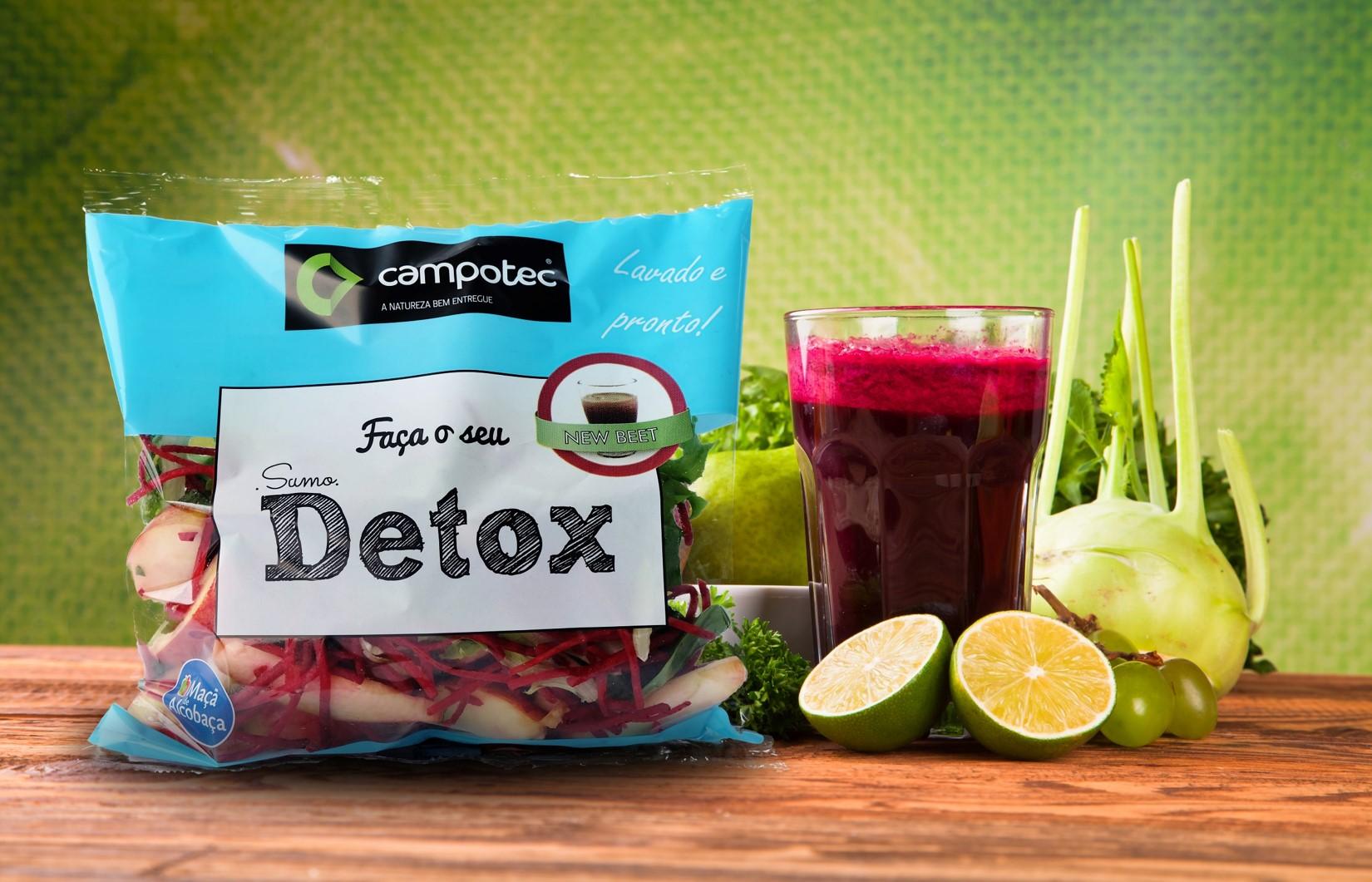 Detox 100% natural com fruta e vegetais nacionais