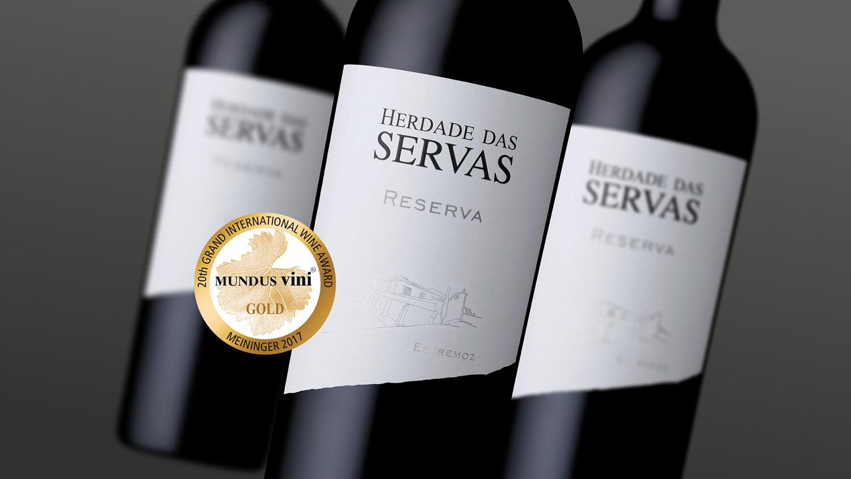 'Herdade das Servas Reserva tinto 2013' com ouro no Mundus Vini